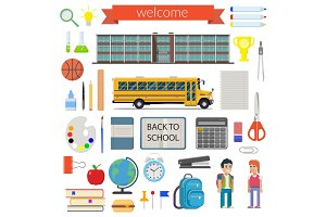 School student stationery supplies set. vector illustration. Isolated on white background
