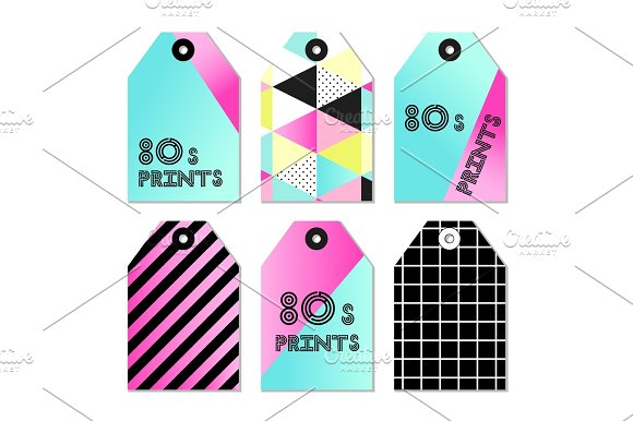 Cute Set Of 80s And 90s Style Trendy Tags