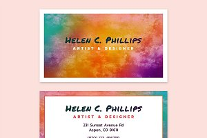 Watercolor Business Card Template 01