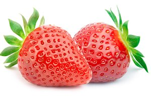 Two strawberries with leaves isolated
