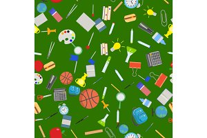 Different school objects in good seamless pattern. Flat vector illustration background.