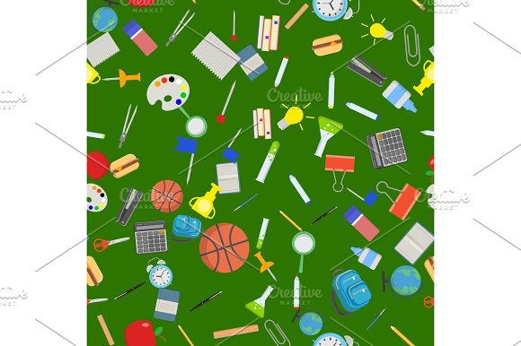 Different School Objects In Good Seamless Pattern Flat Vector Illustration Background