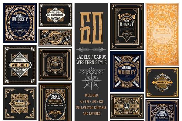 Mega pack of 60 labes/cards 95% off