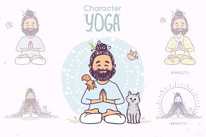 yoga man with animals