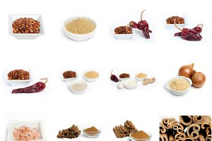 Spices and herbs in bowls. Isolated