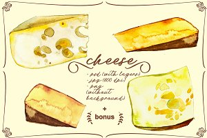 cheese, watercolor, seamless pattern