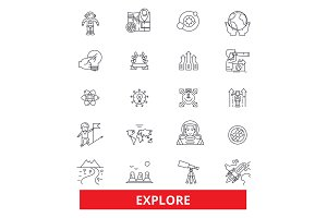 Explore, adventure, discover, expedition, search, open, travel, learn line icons. Editable strokes. Flat design vector illustration symbol concept. Linear signs isolated on white background
