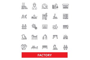 Factory, warehouse, facility, workshop, plant, production, manufacturing, site line icons. Editable strokes. Flat design vector illustration symbol concept. Linear signs isolated on white background