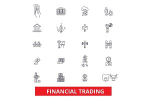 Financial trading, finance, banking, trade, stock exchange, market, money line icons. Editable strokes. Flat design vector illustration symbol concept. Linear signs isolated on white background