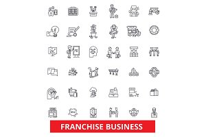 Franchise, network, opportunity, small business, partnership, business, brand line icons. Editable strokes. Flat design vector illustration symbol concept. Linear signs isolated on white background