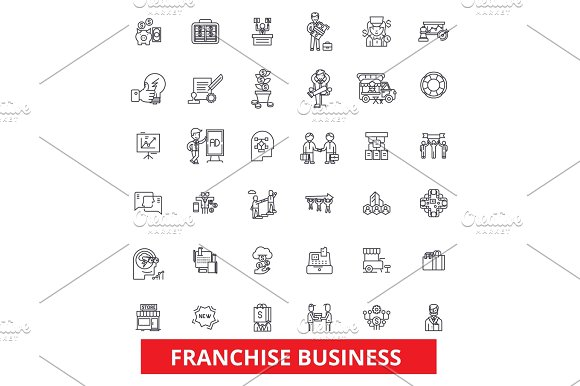 Franchise Network Opportunity Small Business Partnership Business Brand Line Icons Editable Strokes Flat Design Vector Illustration Symbol Concept Linear Signs Isolated On White Background