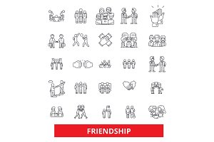 Friendship, relationship, partnership,unity,teamwork,cooperation, support, help line icons. Editable strokes. Flat design vector illustration symbol concept. Linear signs isolated on white background