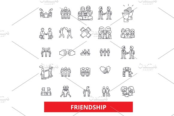 Friendship Relationship Partnership Unity Teamwork Cooperation Support Help Line Icons Editable Strokes Flat Design Vector Illustration Symbol Concept Linear Signs Isolated On White Background