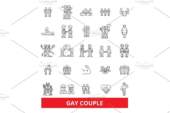 Gays Couple Partnership Relationship Homosexual Partners Cooperation Marriage Line Icons Editable Strokes Flat Design Vector Illustration Symbol Concept Linear Signs Isolated On White Background