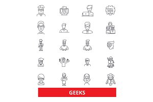 Geeks, nerd, clever, inteliigent, smart, expert, curiosity, dork, freak, techie line icons. Editable strokes. Flat design vector illustration symbol concept. Linear signs isolated on white background