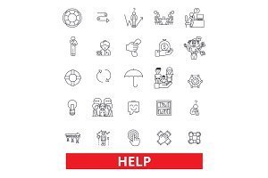 Help, assistance, support, care,charity, aid, donate, avail, guidance, advice line icons. Editable strokes. Flat design vector illustration symbol concept. Linear signs isolated on white background