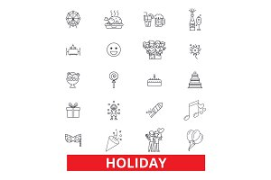 Holidays,break, festival,vacation, weekend, relaxation, day off, fiesta, party line icons. Editable strokes. Flat design vector illustration symbol concept. Linear signs isolated on white background
