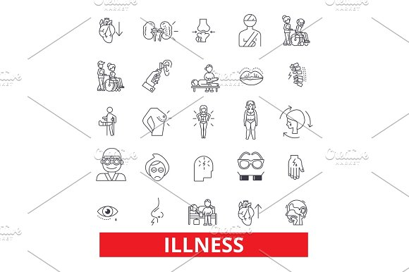 Illness Affliction Ailment Sickness Disease Unwell Unhealthy Breakdown Line Icons Editable Strokes Flat Design Vector Illustration Symbol Concept Linear Signs Isolated On White Background
