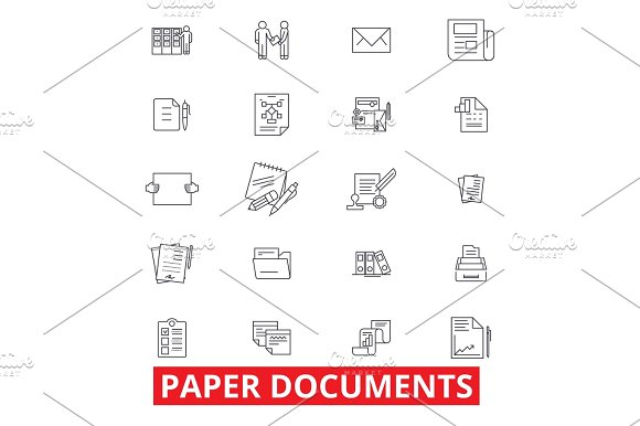 Paper Documents Archive Paperwork Forms Bills Report Application Line Icons Editable Strokes Flat Design Vector Illustration Symbol Concept Linear Signs Isolated On White Background