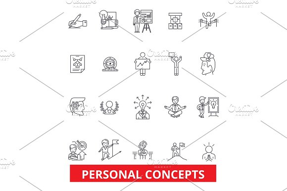 Personal Concept Management Success Growth Motivation Control Leadership Line Icons Editable Strokes Flat Design Vector Illustration Symbol Concept Linear Signs Isolated On White Background