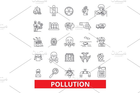 Pollution Dirt Erosion Deterioration Toxic Environment Ecology Damage Line Icons Editable Strokes Flat Design Vector Illustration Symbol Concept Linear Signs Isolated On White Background