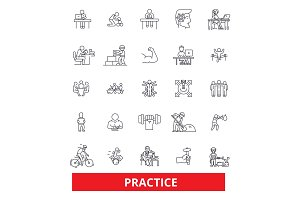 Practice, routine, procedure, habit, activity, development, experience, training line icons. Editable strokes. Flat design vector illustration symbol concept. Linear signs isolated on white background