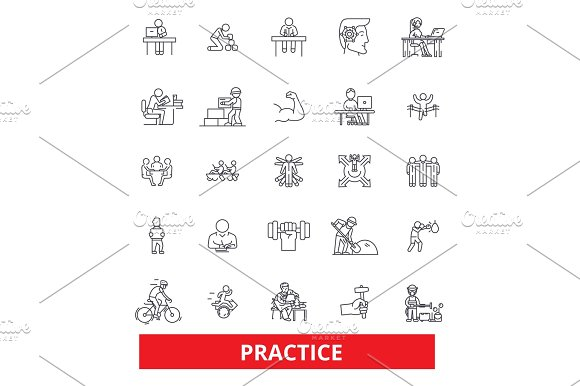 Practice Routine Procedure Habit Activity Development Experience Training Line Icons Editable Strokes Flat Design Vector Illustration Symbol Concept Linear Signs Isolated On White Background