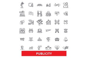 Public relations, contact, reputation, communication,media, advertising, promote line icons. Editable strokes. Flat design vector illustration symbol concept. Linear signs isolated on white background