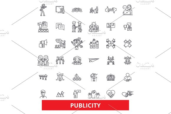 Public Relations Contact Reputation Communication Media Advertising Promote Line Icons Editable Strokes Flat Design Vector Illustration Symbol Concept Linear Signs Isolated On White Background