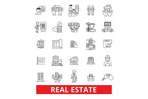 Real estate, land, lot, house, property, construction, realtor, building, realty line icons. Editable strokes. Flat design vector illustration symbol concept. Linear signs isolated on white background