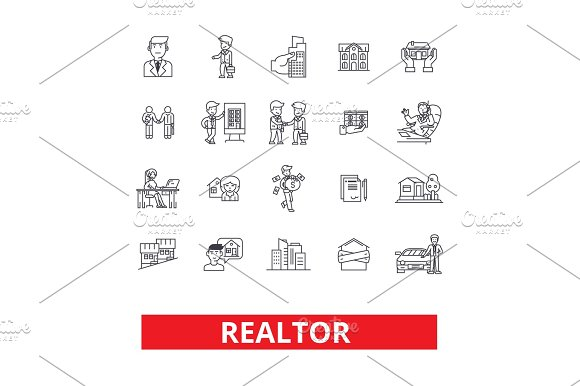 Realtor Broker Negotiator Real Estate Agent Representative Businessman Line Icons Editable Strokes Flat Design Vector Illustration Symbol Concept Linear Signs Isolated On White Background