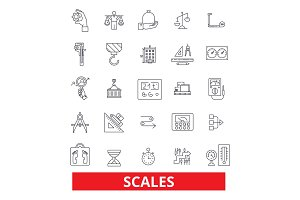 Scales, calibration, proportion, weights, balance, measure, estimate, register line icons. Editable strokes. Flat design vector illustration symbol concept. Linear signs isolated on white background