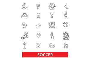 Soccer, football, game, fans, goal, field, play, sport, pastime, ball line icons. Editable strokes. Flat design vector illustration symbol concept. Linear signs isolated on white background