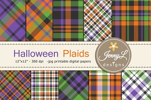 Halloween Plaid Digital Papers