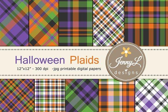 Halloween Plaid Digital Papers
