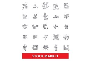 Stock market, Wall Street, exchange, investment, finance, trade, broker line icons. Editable strokes. Flat design vector illustration symbol concept. Linear signs isolated on white background