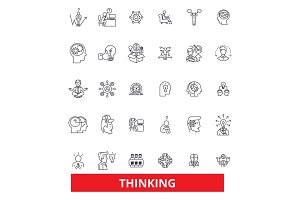 Thinking,idea,brain, thought, mind, dream, thought, reflection line icons. Editable strokes. Flat design vector illustration symbol concept. Linear signs isolated on white background