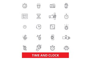 Time, clock, punch, management, watch,calendar, deadline line icons. Editable strokes. Flat design vector illustration symbol concept. Linear signs isolated on white background