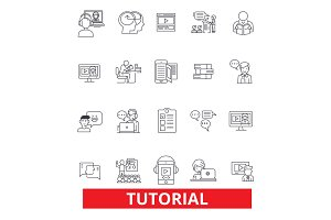 Tutorials, learning, help, guide,training,showing,e-learning, webinar, books line icons. Editable strokes. Flat design vector illustration symbol concept. Linear signs isolated on white background