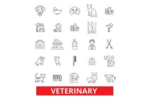 Veterinarian, veterinary clinic, vet, dog and cat, pets, veterinary medicine, line icons. Editable strokes. Flat design vector illustration symbol concept. Linear signs isolated on white background