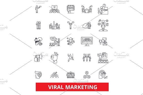 Viral Word Of Mouth Social Media Advertising Marketing Social Network Line Icons Editable Strokes Flat Design Vector Illustration Symbol Concept Linear Signs Isolated On White Background