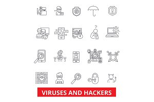 Viruses and hackers. hacking, security, cyber crime, malware,spyware line icons. Editable strokes. Flat design vector illustration symbol concept. Linear signs isolated on white background