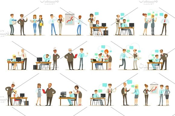 Big Boss Managing And Supervising The Work Of Office Employees Set Of Top Manager And Workers Illustrations