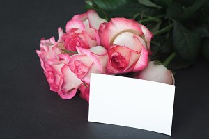 Pink roses and blank tag