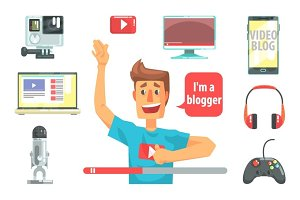 Guy Video Blogger And His Recording Equipment, Set Of Blog And On Line Blogging Icons Around A Show Host