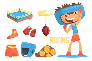 Boy Boxer, Kids Future Dream Professional Boxing Sportive Career Illustration With Related To Profession Objects