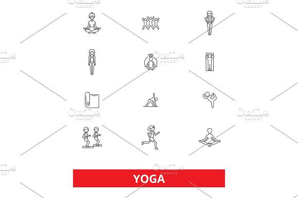 Yoga Meditation Fitness Poses Exercise Zen Gym Spa Relax Line Icons Editable Strokes Flat Design Vector Illustration Symbol Concept Linear Signs Isolated On White Background
