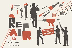Repair and Workers Vector Drawings