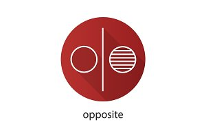 Opposite symbol flat linear long shadow icon