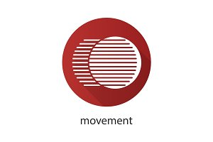 Movement flat design long shadow glyph icon